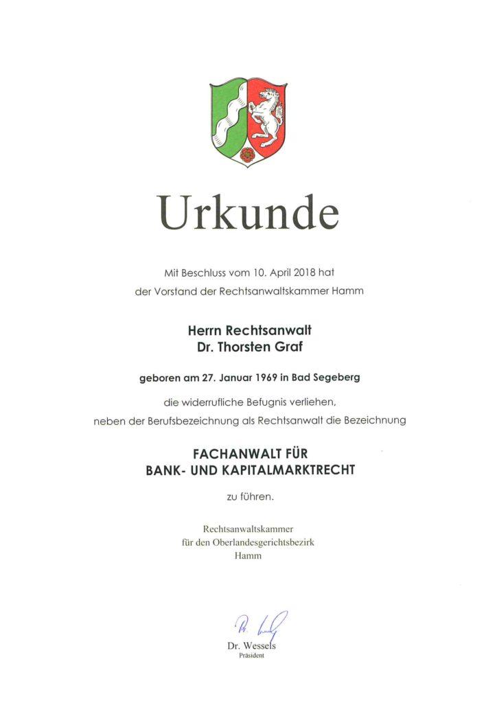 Urkunde Fachanwalt Bank- und Kapitalmarktrecht